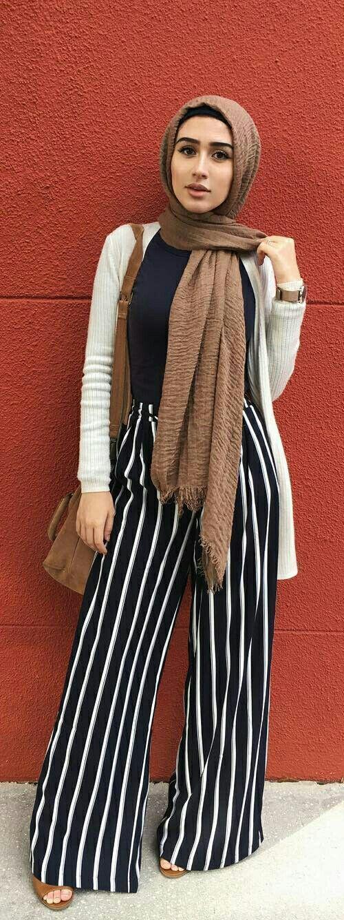 Stripe pants - hijab street style fashion #hijabfashion,