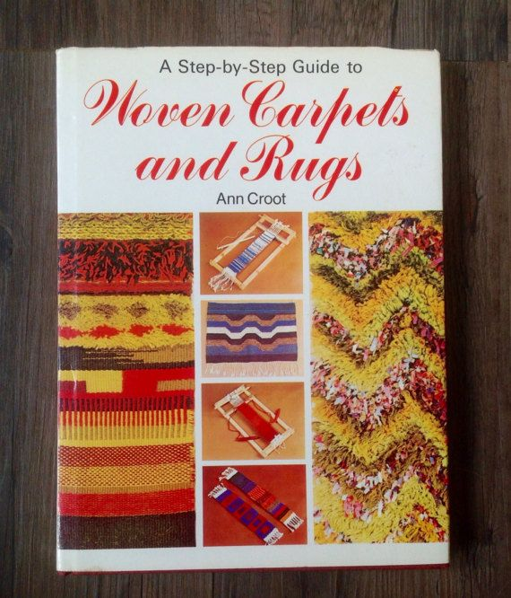 A hardback copy of. A Step byStep Guide to Woven Carpets and Rugs by Ann Croot, published by Hamlyn in 1974.  A practical and interesting book about every aspect of weaving and making rugs and carpets, with lots of black and white diagrams and full colour pictures. Book has 80 pages , measures 7.5 by 10 Slight age discolouration to page edges/ dust jacket, otherwise in good vintage condition.