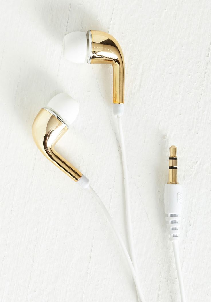 Glam Jam Earbuds. Tune out in trendsetting style with this metallic set of earbuds! #gold #modcloth