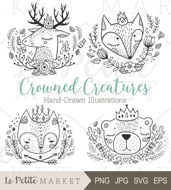 Forest Forest Friends clip art images – set of 5 illustrations. Each clip art is at least 6-8 inches on the longest side and 300 PPI ——————————— ————————— You get: 5 illustrations Including: Portrait of a cat Deer portrait Bear portrait