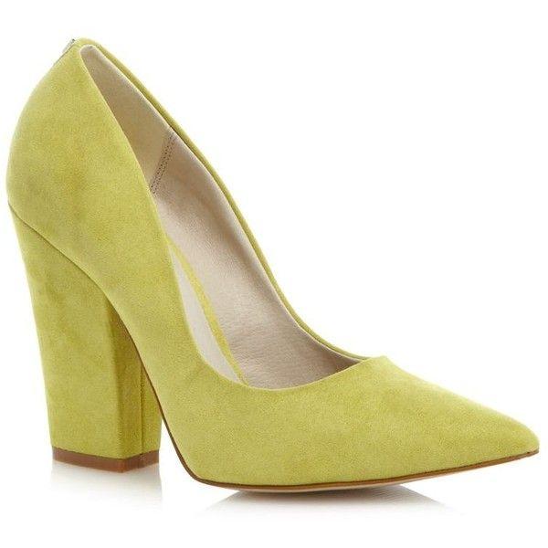 Lime suedette block heel shoes Faith
