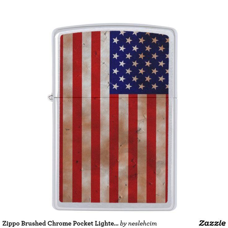 "Zippo Brushed Chrome Pocket Lighter ""Old USA flag"""