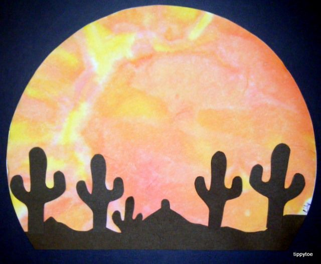 We made this for Jesus in the desert at Messy Church.  We pre-cut the sillouhette and let the children stick it onto their painted background