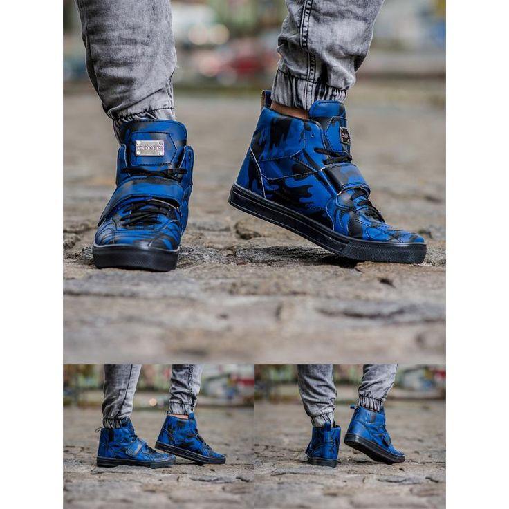 Pánske štýlové členkové topánky modré