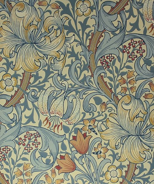 Golden Lily Wallpaper A classic William Morris wallpaper floral lilies in teal and coral on a cream background