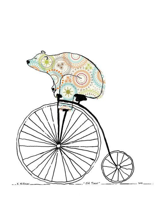 Old Timer 11 x 14 Bears On Bikes Art Print от weandthebean