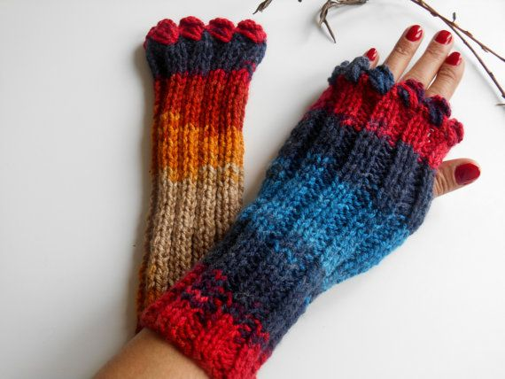 Colored Knitted Gloves, Crochet Gloves, Colorful Gloves, Handmade Gloves, Fingerless Gloves, Christmas Gifts, Arm Warmer, Winter Gifts