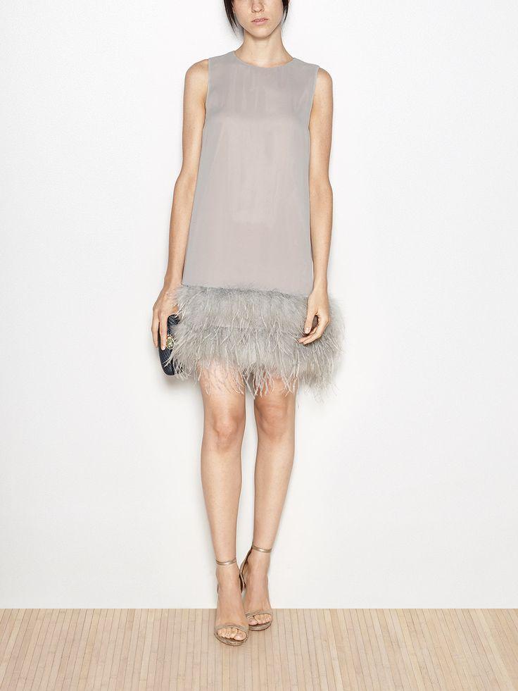 Vestido midi plumas de pavo y avestruz | Hoss Intropia Spain