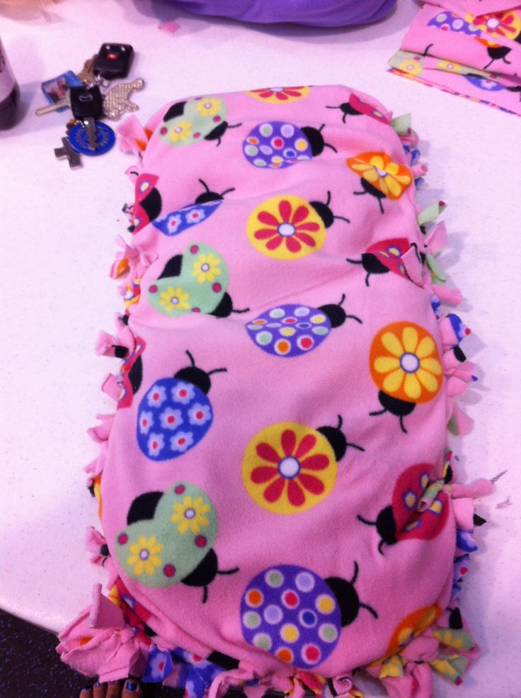 American Girl Doll comforter. Fleece cut and tied and stuffed.