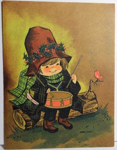 1960s Mod Little Drummer Boy Vintage Christmas Card