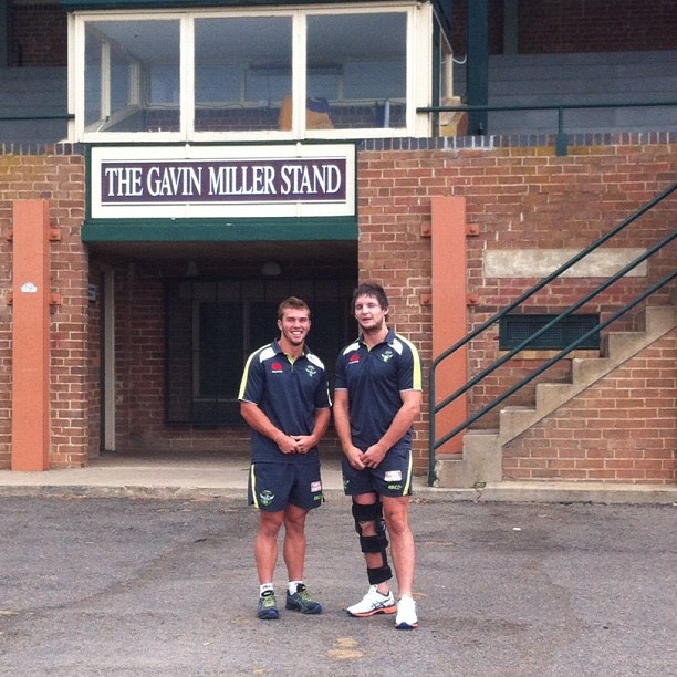 Mitch Cornish and Jarrod Croker promoting Canberra Raiders V Bulldogs trial in Goulburn