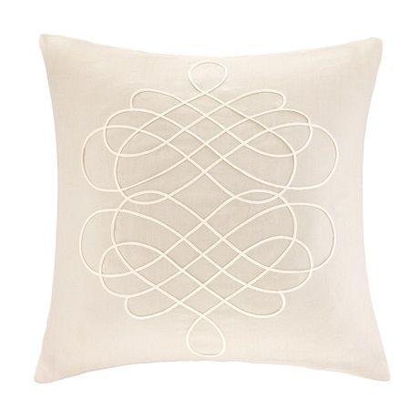 This square linen decorative pillow is artfully embroidered with ivory cording in a scroll motif creating the perfect accent piece for your room. The 95% feather, 5% down filling provides a comfortable addition for you or your guests.