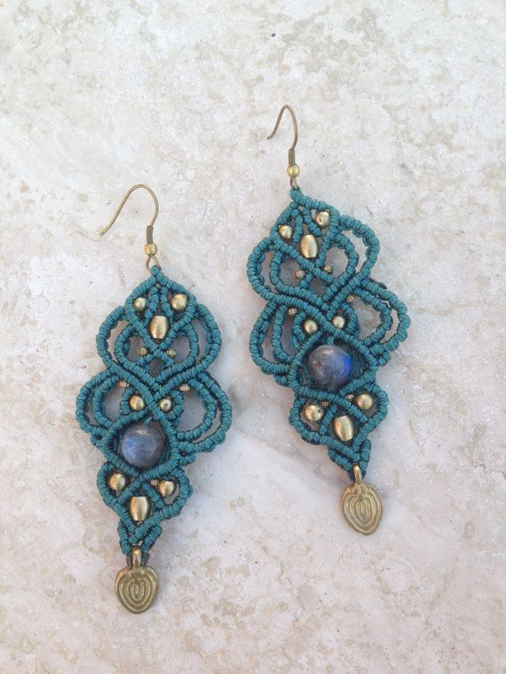 Tribal gypsy macrame earrings with labradorite gem stone and brass beads
