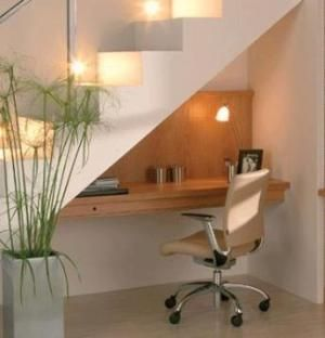 Simple desk under the stairs