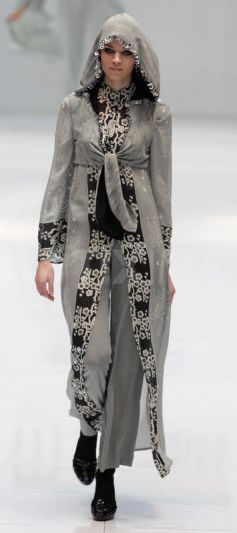 Model presents Islamic fashion creations by Jarumas during Malaysia International Fashion Week in Kuala Lumpur November 3, 2010.