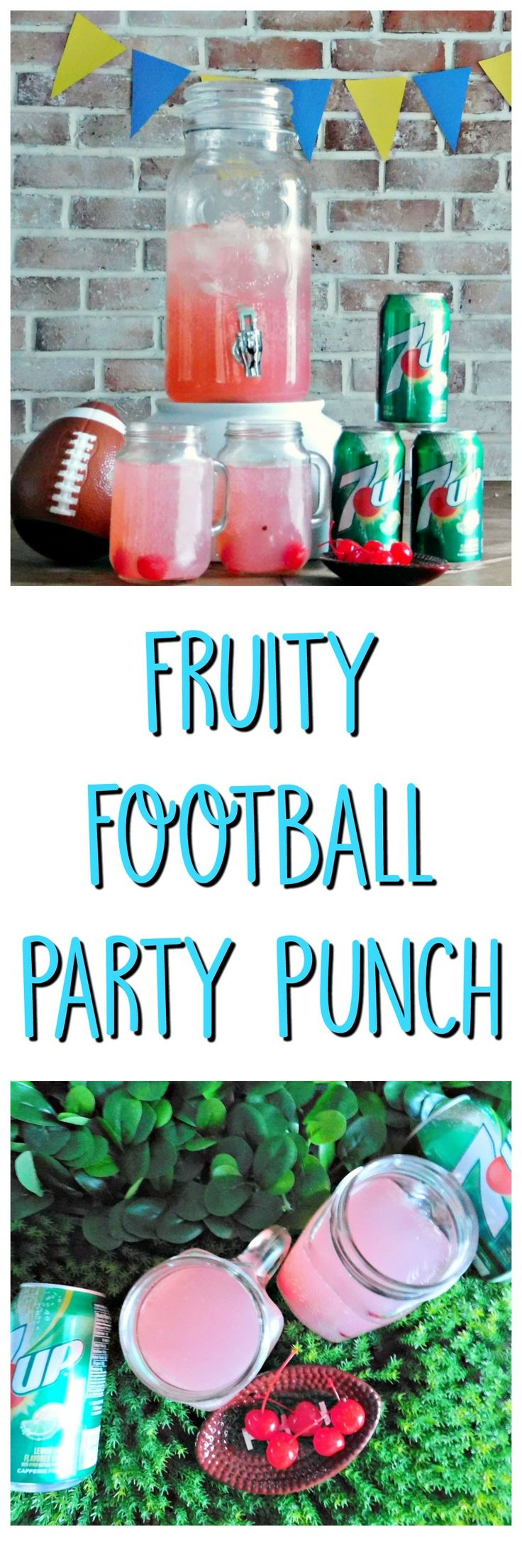 #ad msg 4 21+ #collectivebias #JustAdd7up. 7UP Fruity Football Party Punch. This alcoholic party punch is sure to be a favorite with your guests. Mix 7UP with pink lemonade, vodka and triple sec.