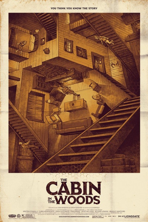 Another poster that was nowhere near the primary one used but thankfully it was given the frameworthy poster treatment. A take on Escher's Relativity, the sepia-toned drawing nails what Drew Goddard/Joss Whedon's film is really about. The picture gets the trapped and constructed environment of the characters.