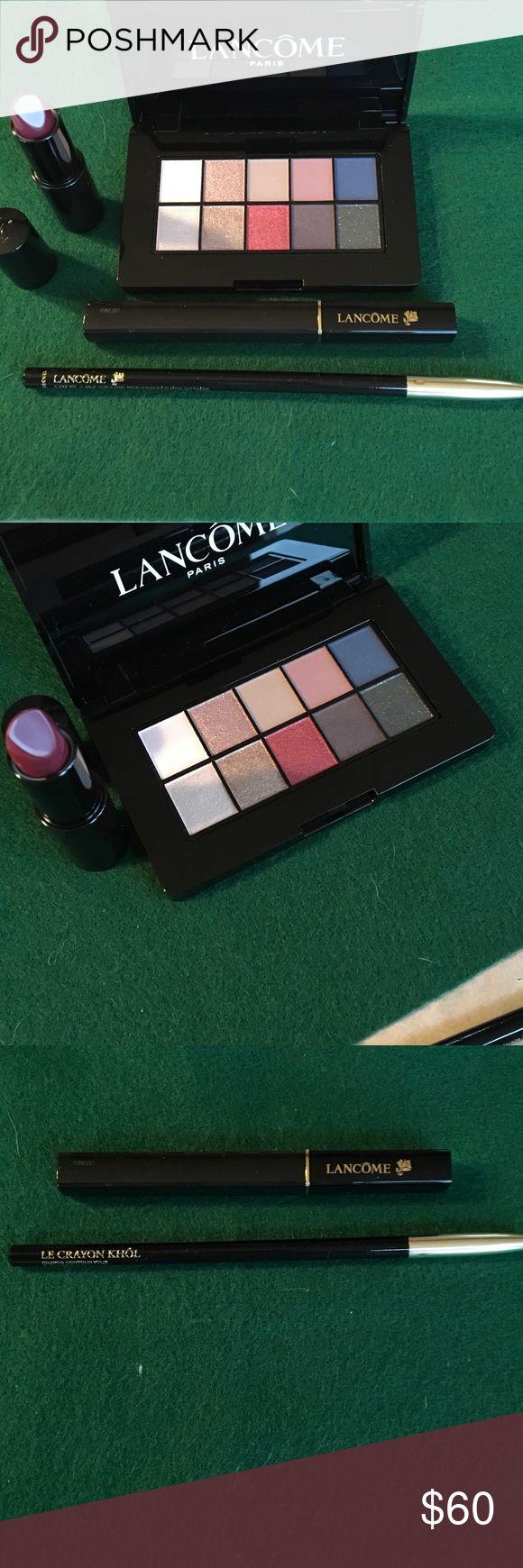 Lancôme makeup Bundle Color Design palette Sparkling Plum, Color Design Lipstick Wine Party, Le Crayon Khol Black Ebony, Definicils Mascara. Free cosmetic brush with purchase see picture Lancome Makeup