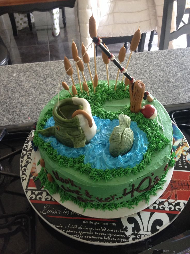 Bass fish birthday cake kasen 39 s cakes pinterest for Fish birthday cakes