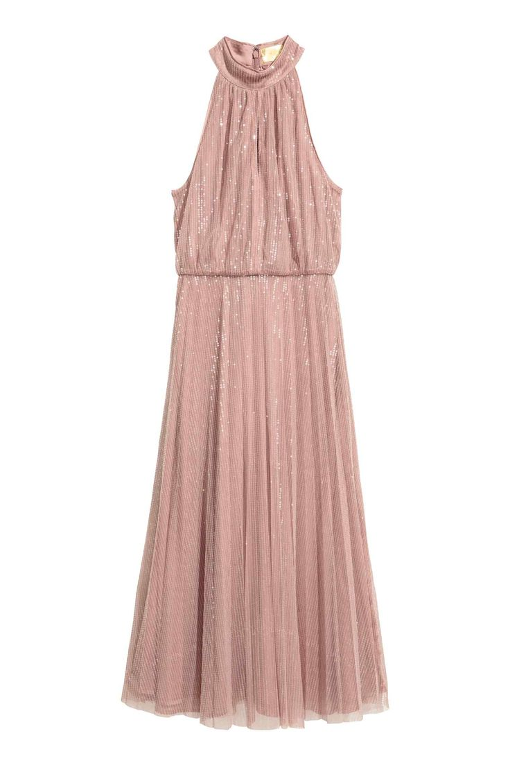 Calf-length, sequined mesh dress in a narrow cut at the top with an opening at the front. Concealed zip at the back, a seam at the waist and a flared, gentl