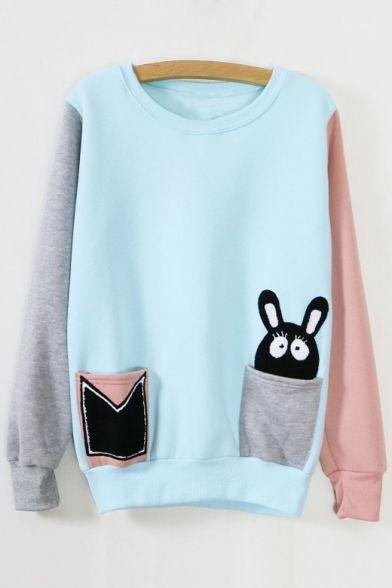2016 New Color Block Rabbit in Pocket Sweatshirt