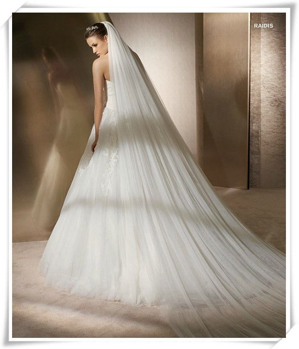 Korean Contracted Double Layered 3M Bridal Veil Long Trailing Veil veu de noiva wedding veil with comb