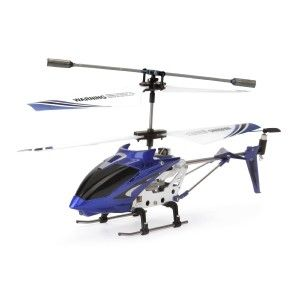 Syma Helicopter: Syma S107G 3.5 Channel RC Helicopter with Gyro, Blue It is one of the most under-rated RC helis out there. If you  remove the spring from the left joystick in the controller, it will let you put the heli in a hover and you can let go of the remote.  http://awsomegadgetsandtoysforgirlsandboys.com/syma-helicopter/ Syma Helicopter: Syma S107G 3.5 Channel RC Helicopter with Gyro, Blue