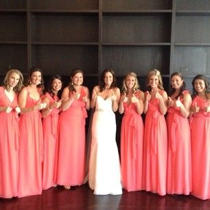 Thumbs up to this Coral Bridal party! via @Erin B B Duncan Bridesmaid Instagram