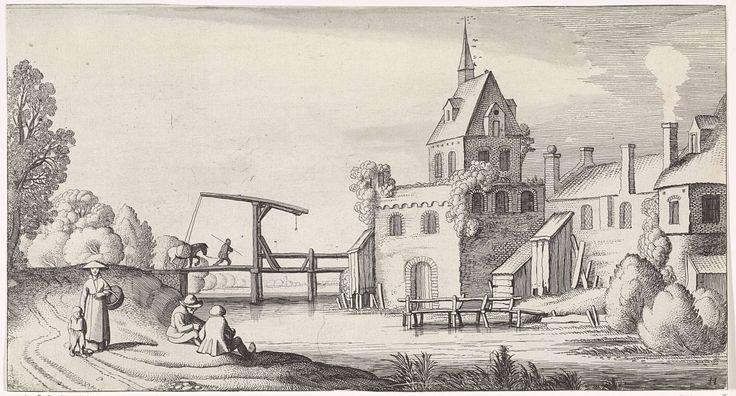 Jan van de Velde (II) | Figuren bij een ophaalbrug voor een dorp met kerktoren, Jan van de Velde (II), 1639 - 1641 | Gezicht op een dorp met kerktoren en een ophaalbrug over het water. Op de brug loopt een man met een paard aan de leidsels. Op het pad langs de rivier enkele figuren. Elfde prent van een serie met 36 prenten van landschappen, verdeeld over zes delen.