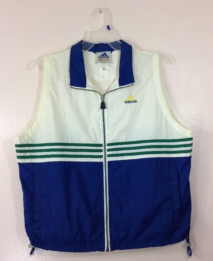 Nos Color Nylon Blue Size Vintage Spellout Large Block Adidas Vest zPwxWqOp