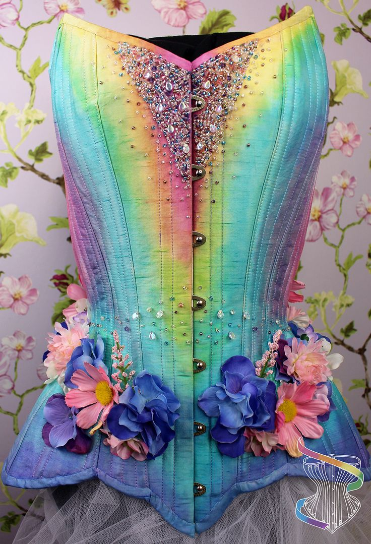 Rainbow fairy corset handpainted with beading and flowers by Rainbow Curve Corsetry