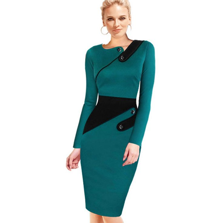 Business Female Pencil Dress Elegant Lady Illusion Patchwork Sheath Buttons Fitted Women Bodycon Bandage Dress b231
