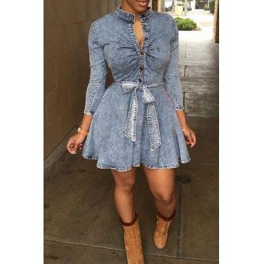 USD9.99Women Sexy Long Sleeve Bodycon Club Denim Jean Mini Dress