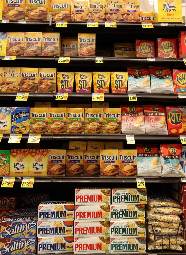 Shelves of Nabisco brand products, all part of the Kraft Foods family of brands and products, are seen at a Ralphs Fresh Fare supermarket in Los Angeles in February.