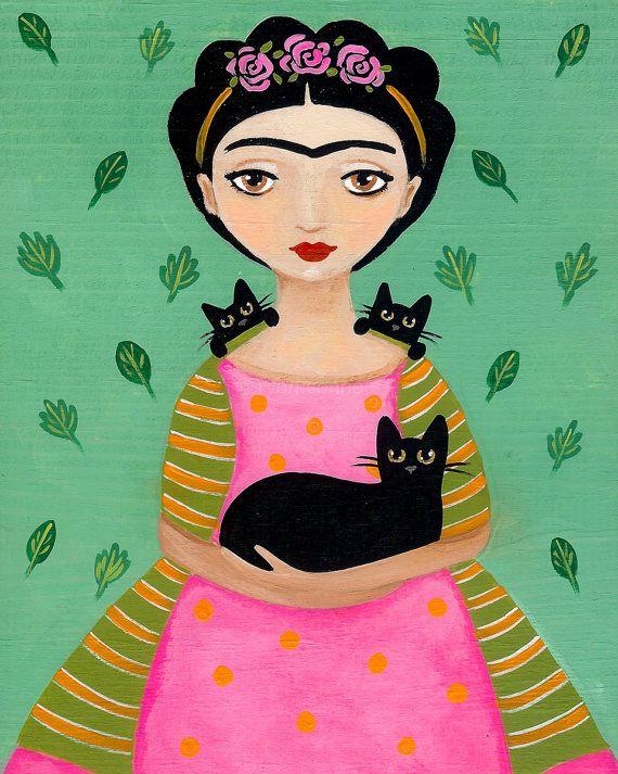 Frida and Black Cats Cat Folk Art Print 8x10 by KilkennyCatArt