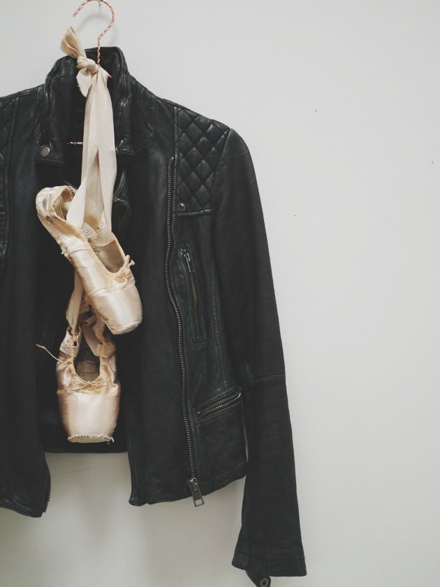 Pointe Shoes + Leather jacket. Pinned from the Northern Ballet.