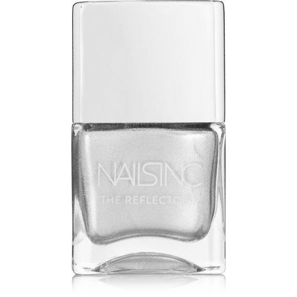 Nails inc The Reflectors Nail Polish - Kings Cross Road ($15) ❤ liked on Polyvore featuring beauty products, nail care, nail polish, silver, nails inc., nails inc nail polish and shiny nail polish