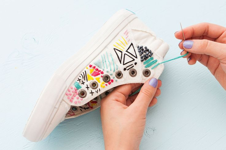 Forget the Hoop! Embroider White Canvas Sneakers for Spring - The perfect upgrade for last year's sneaks.
