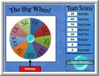 """FREE PPT GAME~  No preparation required, just have a sheet of vocabulary or review questions in your hand. Simply click """"Spin the Wheel"""" and total up the points in the columns on the right. The Big Wheel Elementary is the same except that it has smaller numbers on the wheel. (Whole Class Participation Game)"""