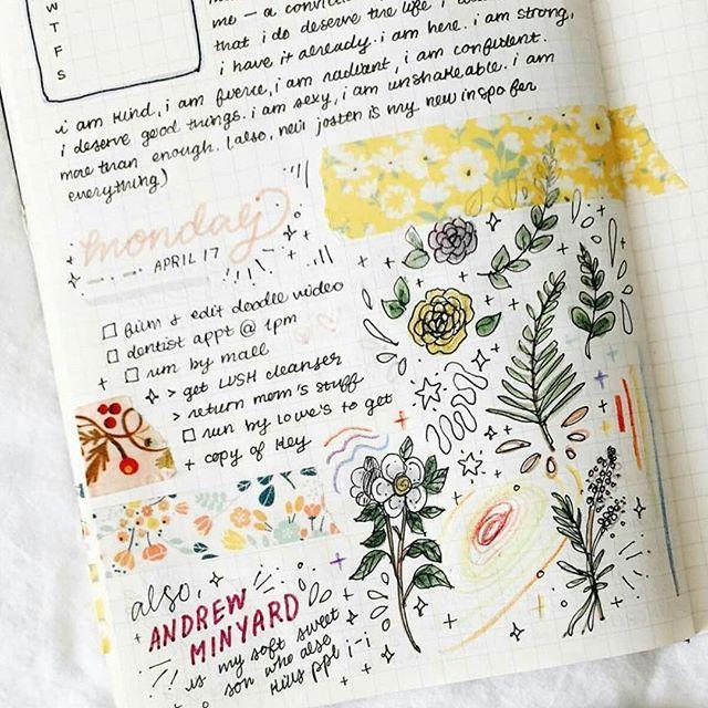 A combinação de washi tapes, doodles e lettering da @studyrose ficou incrível!