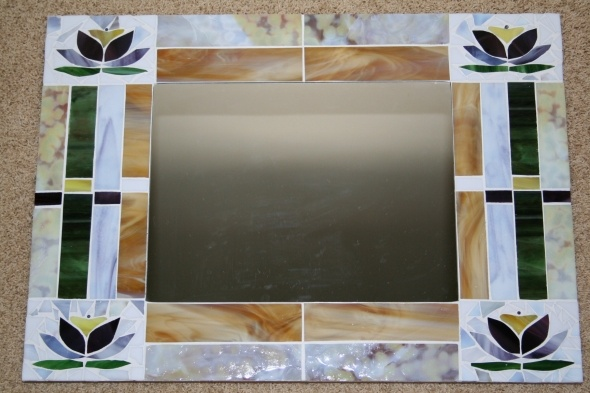 Lotus Blossom Stained Glass Mosaic Mirror