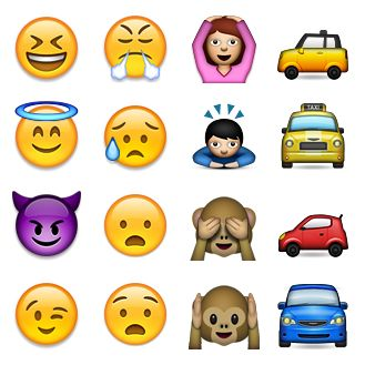 Emoji code points and example glyphs using web fonts, sprites and native OS representation of Emoji characters
