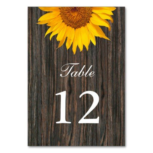 Rustic Dark Wood Background Sunflower Wedding Card