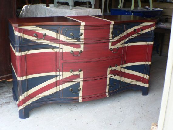 Super English CHiC Union JACK  flag  wood Buffet Sideboard . to be custom painted
