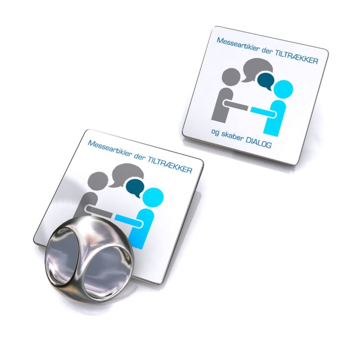 Square badge with the print of your logo or product symbol.