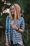 oversized plaid shirt with knitted hood | three bird nest, boot socks, knitted headbands, lace accessories