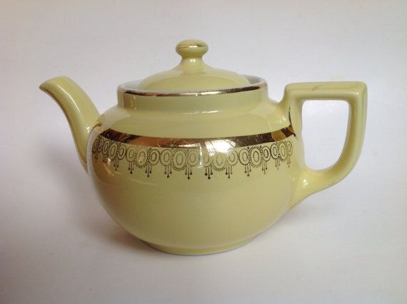 Butter Yellow Hall Teapot with Gold Trim 8 Cup by KitchieKu, $35.00
