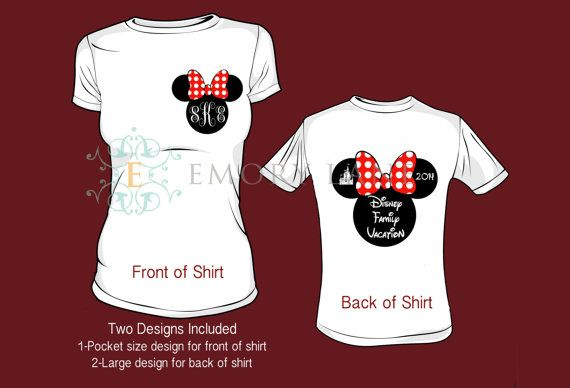 Monogram design for the front of the shirt and Disney Family Vacation 2014 mouse silhouette design for the back of the shirt.    Both designs,