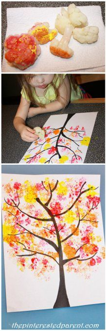impression avec choufleurCauliflower Stamped Fall Tree Craft