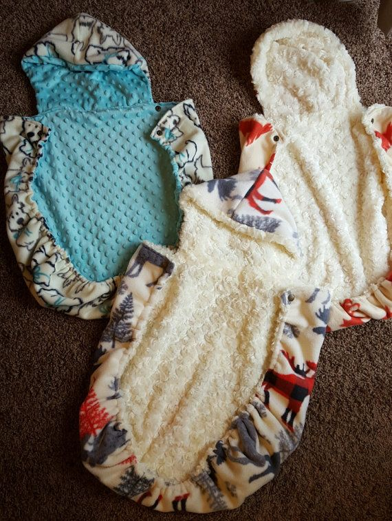 **THIS LISTING IS FOR A PRE-MADE COVER IN THE NEWBORN TO 6 MONTH SIZE.** No size upgrade is available for this particular listing.  Fleece